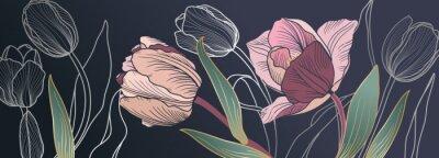 Фотообои Luxury pink tulips background vector with golden metallic decorate wall art