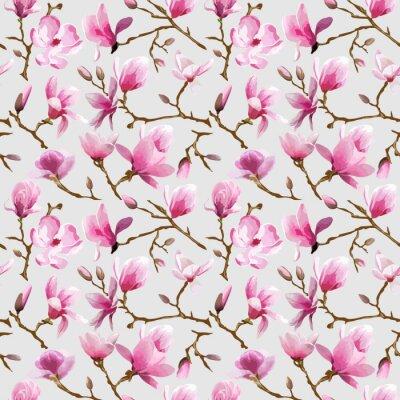 Фотообои Магнолия Цветы Фон - Урожай бесшовные шаблон