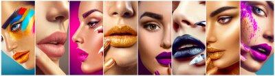 Фотообои Макияж коллаж. Идеи визажиста. Красочные губы, глаза, тени для век и ногтевое искусство