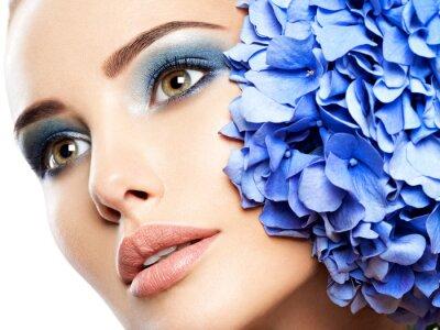 Фотообои Makeup Face Flower Blue Woman Fashion