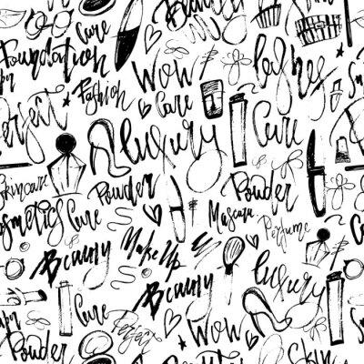 Фотообои Макияж гранж бесшовные шаблон с элементами красоты и от руки надписи для вашего продвижения.