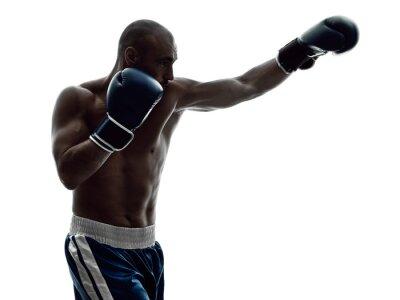 Фотообои мужчина боксеров бокс изолированных силуэт