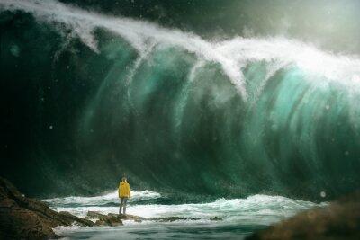 Фотообои Человек перед цунами