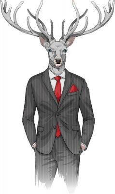 Фотообои Человек с головой оленя, одетый в костюм