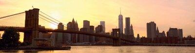 Фотообои панорама горизонта Манхэттен с Бруклинского моста на закате, Нью-Йорк, США