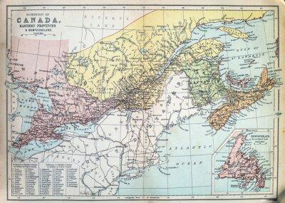 Фотообои Карта восточных провинций Канады