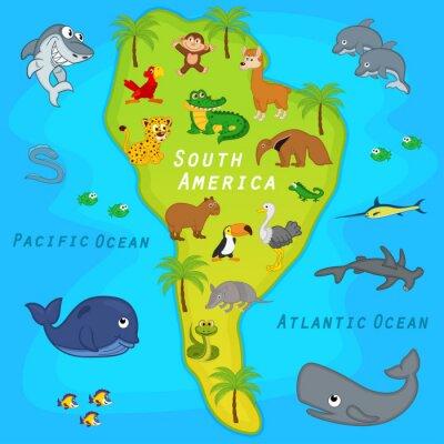 Фотообои карта Южной Америки с животными - векторные иллюстрации, EPS