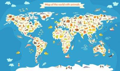 Фотообои Карта мира с животными. Красивые красочные векторные иллюстрации. Дошкольный, для ребенка, детей, детей и всех людей