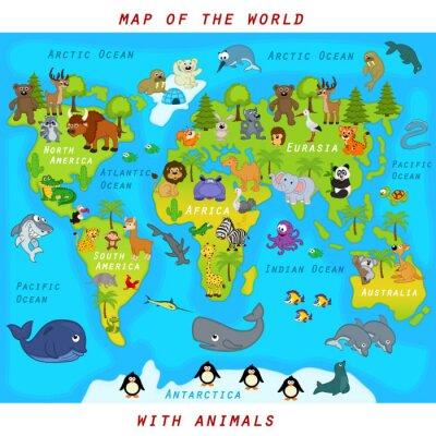 Фотообои карта мира с животными - векторные иллюстрации, EPS