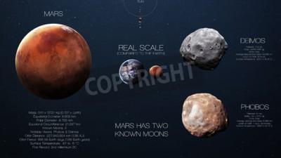 Фотообои Марс - инфографика с высоким разрешением о солнечной планете системы и ее спутников. Все планеты доступны.