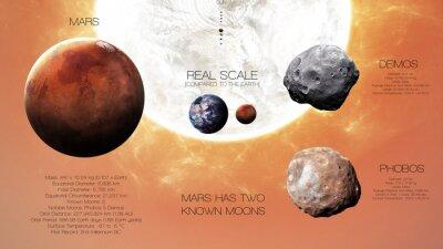 Фотообои Марс - инфографика с высоким разрешением о солнечной планете системы и ее спутников. Все планеты доступны. Это элементы изображения, предоставляемые НАСА