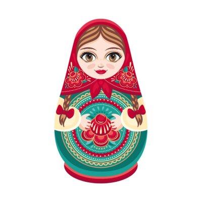 Фотообои Матрешка. Русский народный деревянная кукла. Babushka кукла. Векторные иллюстрации на белом фоне