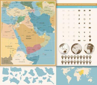 Фотообои Ближний Восток и Западная Азия Карта Урожай Цвета