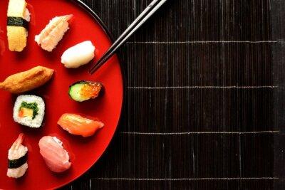 Фотообои Mixed sushi platter with chopsticks