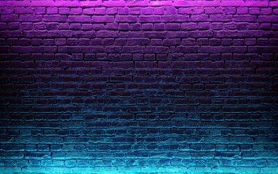 Фотообои Modern futuristic neon lights on old grunge brick wall room background. 3d rendering