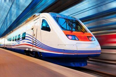 Фотообои Современный скоростной поезд с движением размытие