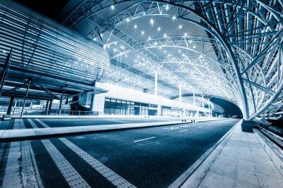Фотообои современный железнодорожный вокзал в ночь