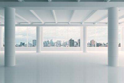 Фотообои Современный белый ангар зона с видом на город