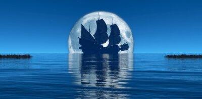 Фотообои Луна и парусник