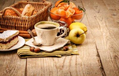 Фотообои Утренний завтрак с кофе и фруктами