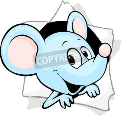 Фотообои Мышь, выглядывающая из отверстия в бумаге