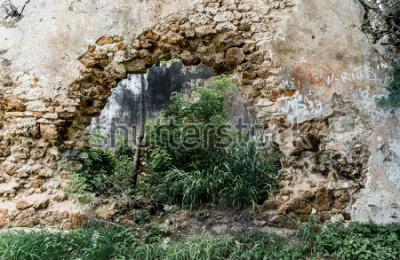 Фотообои Отверстие в стене заброшенного каменного здания.