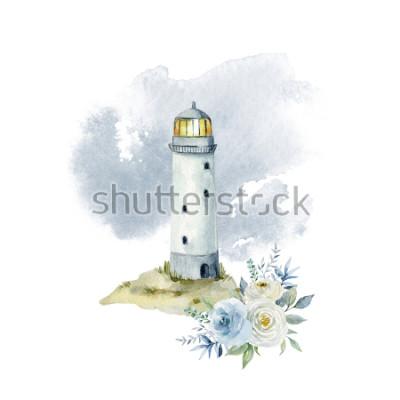 Фотообои Акварельные иллюстрации с маяком, облаками и букетом цветов