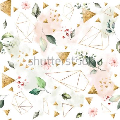 Фотообои Бесшовный фон с весенними листьями и цветами. Рисованной фон. узор с геометрической многоугольной формой. Ботаническая плитка.