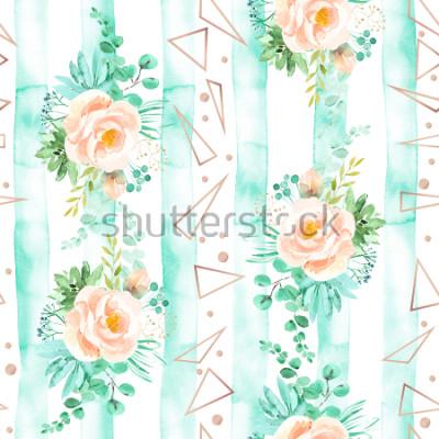 Фотообои Акварель цветочные бесшовные модели в мягких розовых цветах мяты. Геометрический фон с цветами букеты. Розы, суккуленты, эвкалипт, розовое золото, иллюстрация