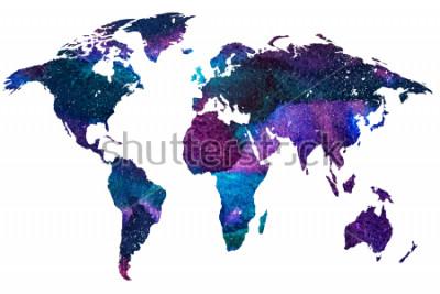 Фотообои 2d рисованной иллюстрации карты мира. Цветное акварельное изображение изолированной земной планеты. Красочные континенты. Белый фон.