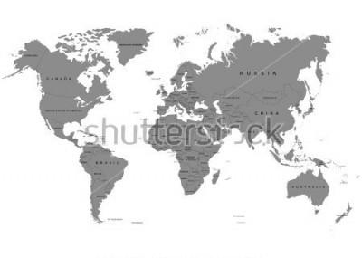 Фотообои Земля, карта мира на белом фоне. Антарктида. Векторные иллюстрации