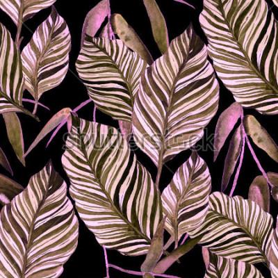 Фотообои Акварель бесшовные модели с листьями. Старинные текстуры.