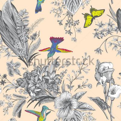 Фотообои Векторные бесшовные старинные цветочным узором. Экзотические цветы и птицы. Ботаническая классическая иллюстрация. красочный