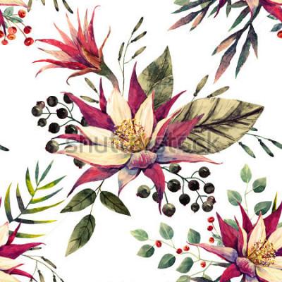 Фотообои акварельный тропический узор, цветок кактуса, черно-белые ягоды, пальмовые листья, ретро-цвета