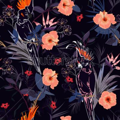 Фотообои Красивый тропический цветочный принт. Наброски Попугайские птицы в джунглях и цветы в летнем экзотическом лесу по всему дизайну, бесшовный векторный шаблон для моды, обои и все отпечатки на темно-сине