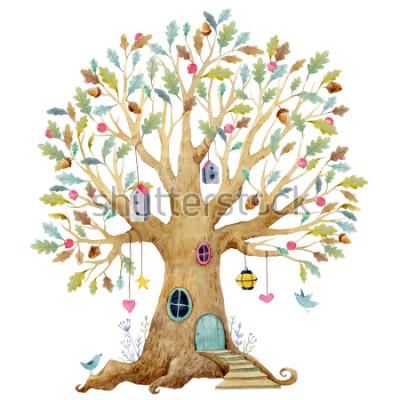 Фотообои Акварель детское дерево иллюстрации, генеалогическое дерево, генеалогическое дерево. милая сказочная деревня, детская иллюстрация