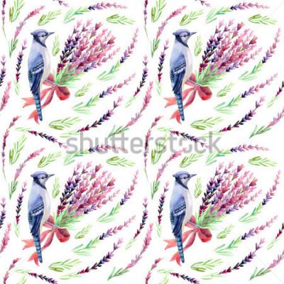Фотообои Синий сойка с лавандовой бесшовные модели на белом фоне. Ручная роспись акварель иллюстрации.