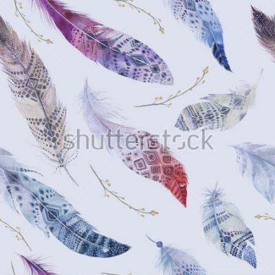 Фотообои Образец перьев. Акварельный элегантный фон. Печать акварельного цвета. Бесшовные повторяющиеся цвета Boho текстуры с рисованной шик обои. Птица иллюстрации.