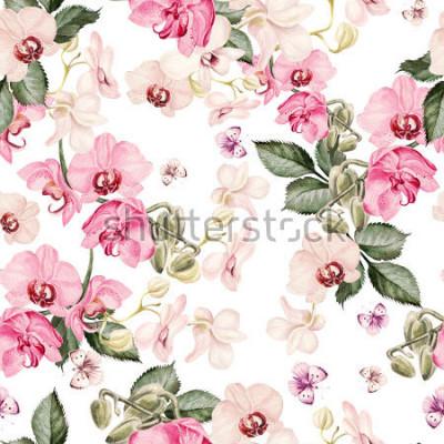 Фотообои Красивый акварельный рисунок с цветами орхидеи. Иллюстрация.