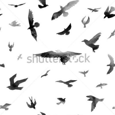 Фотообои Птицы. Акварель бесшовные модели. Растровые иллюстрации.