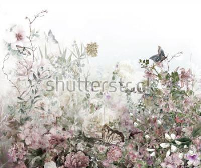 Фотообои Абстрактные красочные цветы акварель. Весна разноцветная в природе