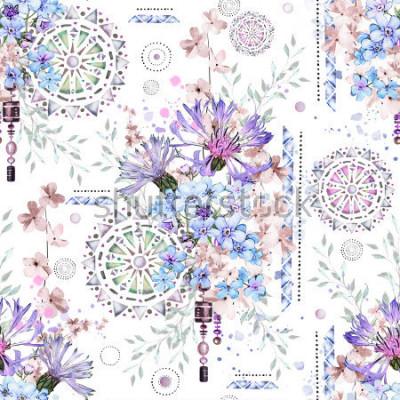 Фотообои бесшовный фон с акварельными цветами и текстурированными орнаментами - мандала. Абстрактный цветочный фон. Цветок и геометрические иллюстрации. Васильковые, я-ноты
