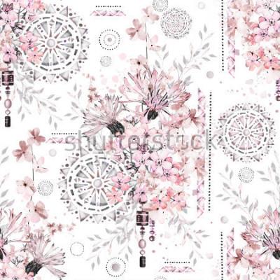 Фотообои бесшовный фон с акварельными цветами и текстурированными орнаментами - мандала. Абстрактный цветочный фон. Цветок и геометрические иллюстрации.