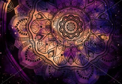 Фотообои Абстрактная древняя геометрия с звездным полем и красочным фоном галактики, акварель цифровая живопись и мандала графический дизайн