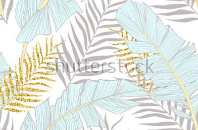 Фотообои Бесшовный фон с бананом и золотыми пальмовыми листьями в векторе