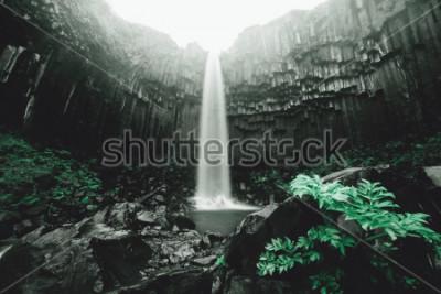 Фотообои Удивительный вид на водопад Свартифосс. Живописное изображение красивой природы. Популярная достопримечательность. Расположение Национальный парк Скафтафелль, ледник Ватнайокулль, Исландия, Европа. Кр