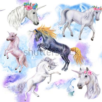 Фотообои Единороги. Бесшовные шаблон с лошадьми. Иллюстрация животных. Акварель. Шаблон. Крупный план