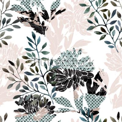 Фотообои Абстрактный цветочный бесшовные модели. Акварельные цветы, листья заполнены минимальными текстурами каракулей. Естественный фон. Ручная роспись