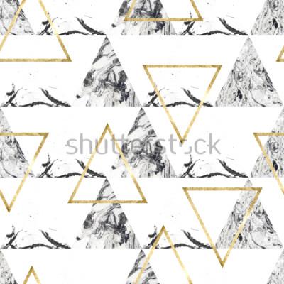 Фотообои Бесшовный узор с треугольниками и мраморной текстурой
