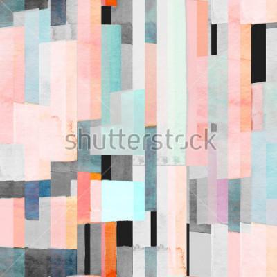 Фотообои Геометрический бесшовный узор с разноцветными полосками и чирками. Модный абстрактный фон.